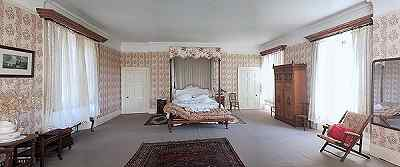 Victorian bedroom for bed and breakfast at Hammerwood Park near Gatwick Airport
